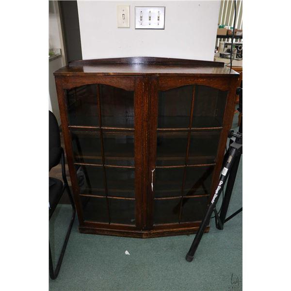 "Two door, quarter cut oak book shelf/ curio cabinet 43"" X 35"""
