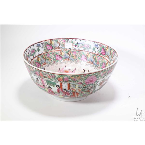 """Hand painted Famille rose center bowl with courtyard scene and floral with bird decoration, 12"""" in d"""