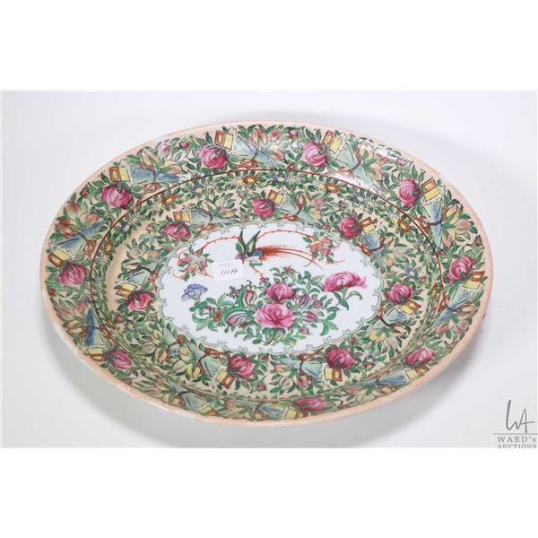 """Hand painted Famille rose oval platter with floral and bird decoration, 13 3/4"""" in diameter. Not Ava"""
