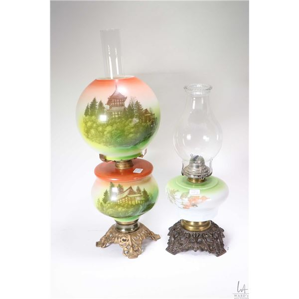 Two vintage oil lamps including one with glass font and shade decorated with transfer ware pagoda an