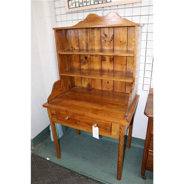 Shop made single drawer desk with attached book hutch