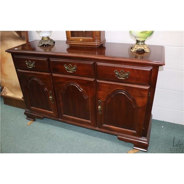 """Small Regency style modern sideboard with three drawers and three doors made by Kroeler, 52"""" wide"""