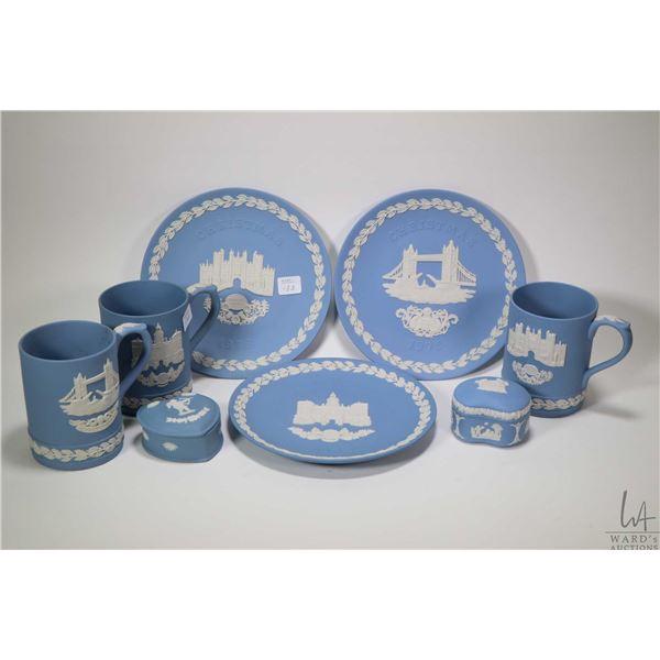 "Selection of Wedgwood Jasperware including three tankards ""Hampton Court, Tower Bridge and Horse Gua"