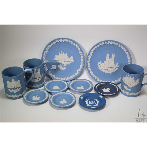 """Selection of Wedgwood Jasperware including three tankards """"Tower of London, Westminster Abbey"""", both"""