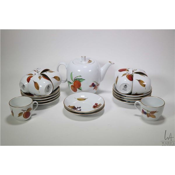 """Royal Worcester """"Evesham"""" teapot with ten matching teacups and saucers. Not Available For Shipping."""
