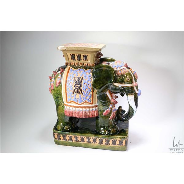 """Glazed ceramic decorative elephant plant stand/ garden stool 22"""" in height. Not Available For Shippi"""