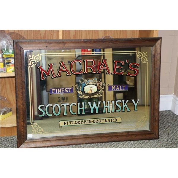 """Framed Macrae's Finest Malt Scotch Whiskey bar mirror, overall dimensions 26 1/2"""" X 36"""". Not Availab"""