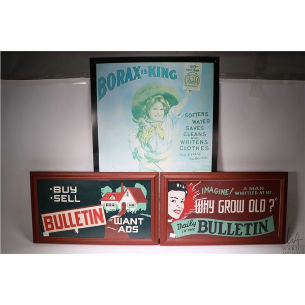 Three vintage style signs including Borax water softener, Daily Bulletin and Bulletin Want Ads. Not