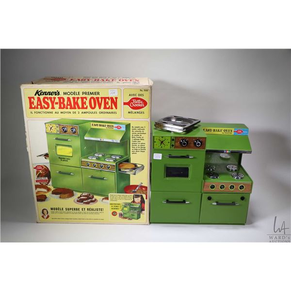 Vintage Easy-Bake Oven by Kenner with original baking pans, spatula and box