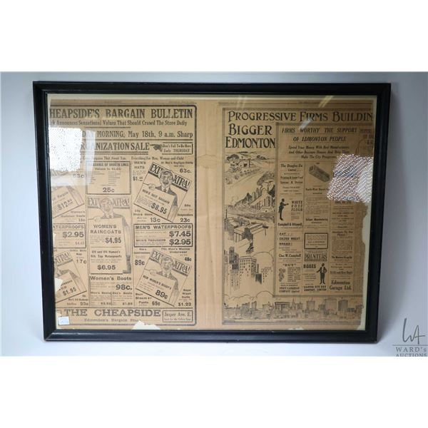 Framed Edmonton newpaper dated May 17, 1916, and two Edmonton area rural farm scene sepia prints on