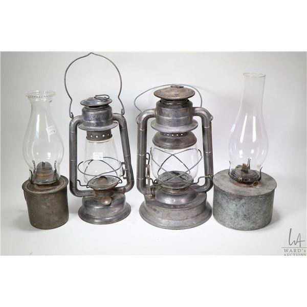 Four oil lamps including a Dietz No. 2, a GSW Wind Proof plus two unmarked galvanized metal lamps