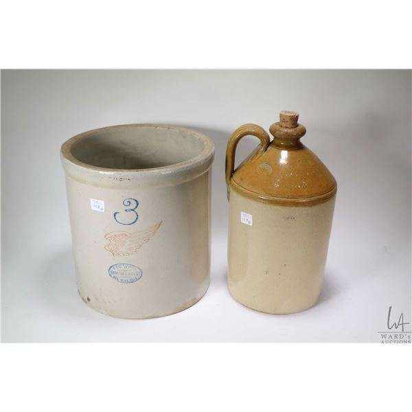 Three gallon Red Wing crock, and a Hunts stoneware jug. Shipping not available, local pick up only