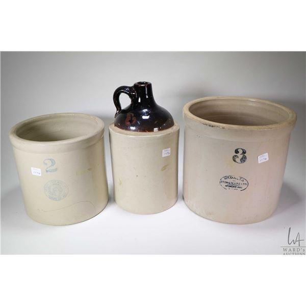Three gallon Medalta crock, a one gallon unmarked stoneware jug and a two gallon Medalta crock, note