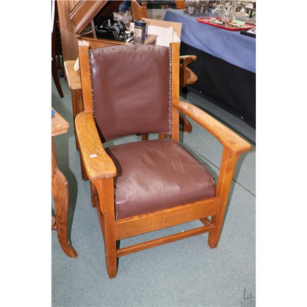 Antique quarter cut oak Mission style open arm parlour chairs, appears refinished and reupholstered