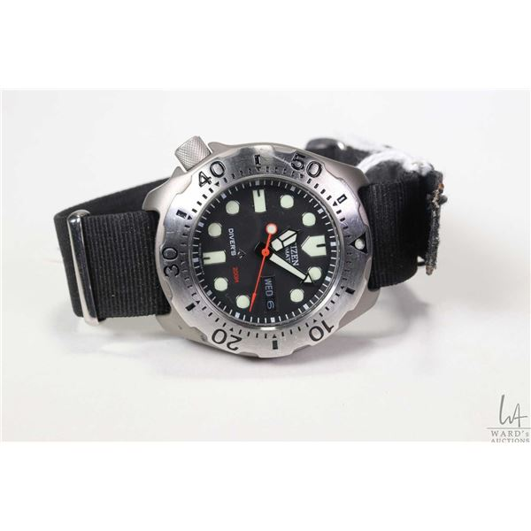 Citizen watch Titanium model Promaster automatic Diver's Watch, working at time of cataloguing
