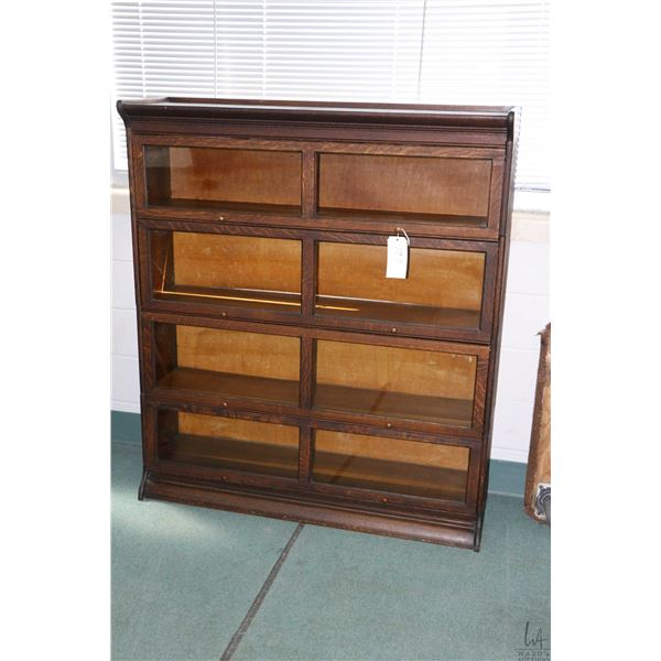 """Four section antique quarter oak barristers book case with base and topper, note unusual 50"""" wide co"""