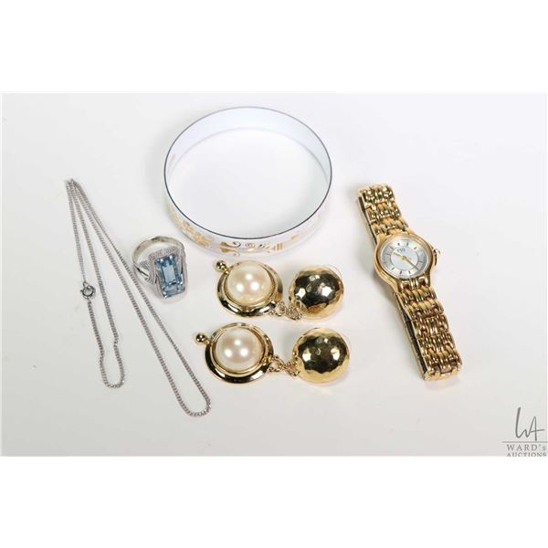 Selection of costume jewellery including gold toned Esquire quartz wrist watch, a pair of gold toned