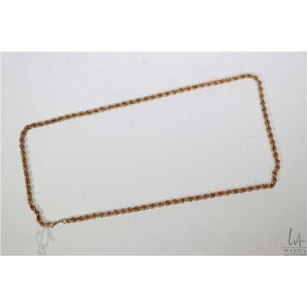"""Twisted rope chain 10kt gold necklace, 26"""" in length"""