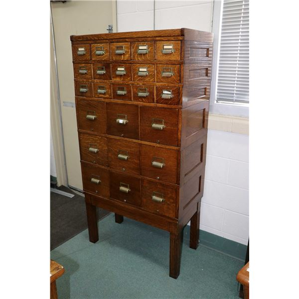 Antique oak stacking card file system manufactured by Office Specialties Canada and including three