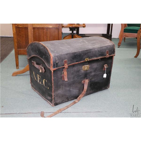 Antique A. Boswell dome top and linen lined wrapped wicker Portmaneau trunk with tray circa mid 19th