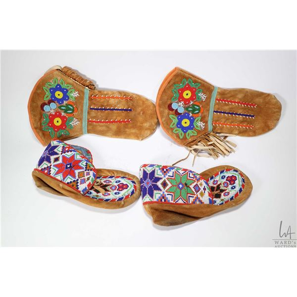 """Pair of First Nations beaded gauntlets and moccasins 10"""" in length"""
