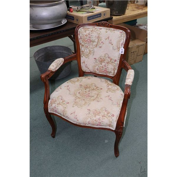 French Provencal style open arm parlour chair with tapestry upholstery and carved decoration