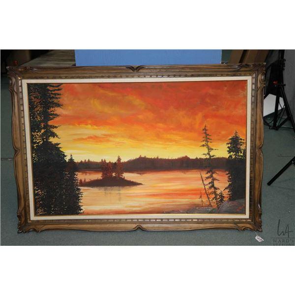 """Large framed original acrylic on canvas sunset lake scene signed by artist D. Eno, 30"""" X 48"""". Not Av"""
