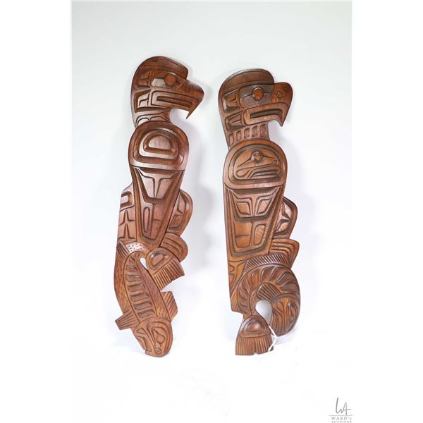 Two hand carved Hiada wall plaques including Bald Eagle/ Salmon by Chester Joseph, Squamish B.C 1989