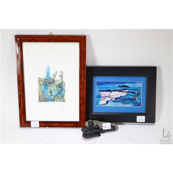 Limited edition print of two figures in masks with artist signature 39/100 in marquetry frame, plus