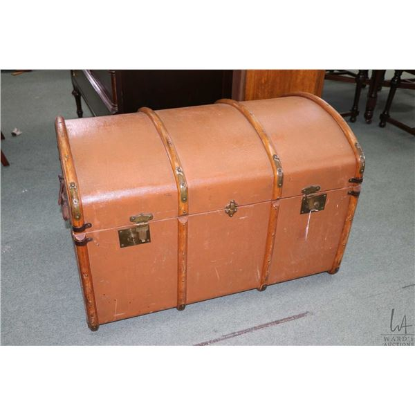 Antique dome topped oak bound steamer trunk with tray
