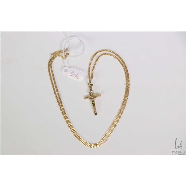 """18kt yellow gold 19"""" neck chain and an 18kt yellow gold cross pendant"""