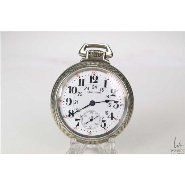 Hamilton size 16, railroad grade 21 jewel pocket watch in Keystone Silveroid case circa 1925, serial