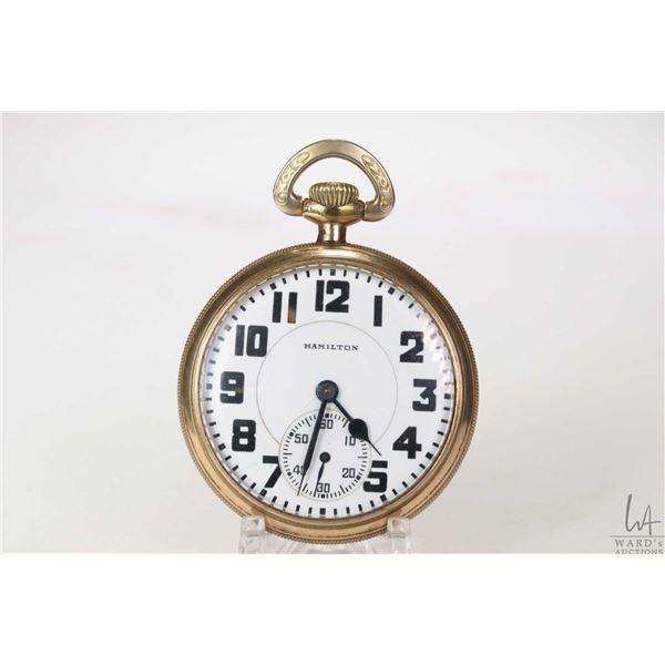 Hamilton size 16, railroad grade, 21 jewel pocket watch in Empress A.W.C Co. gold plated case, seria