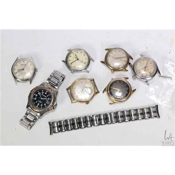 Selection of vintage wrist watches including Bulova 23 jewel self winding, working at time of catalo