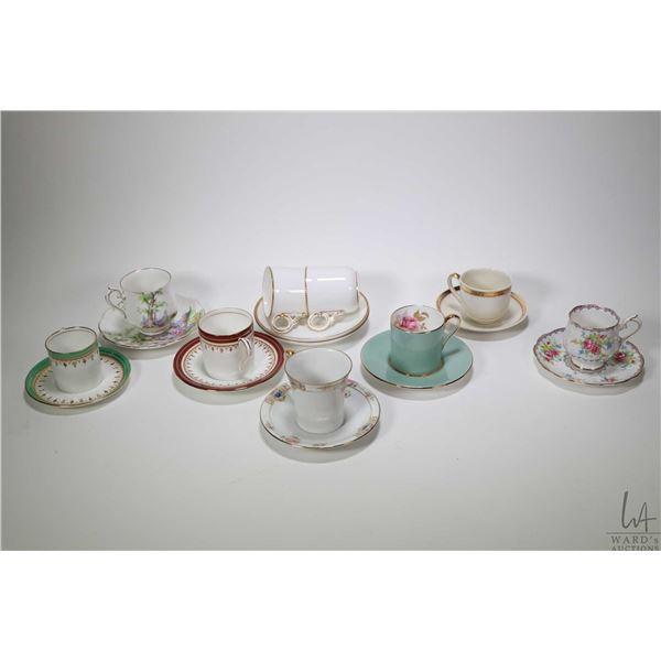 Tray lot of vintage demitasses including Royal Worcester, Royal Albert, Aynsley, Nippon, etc. nine i