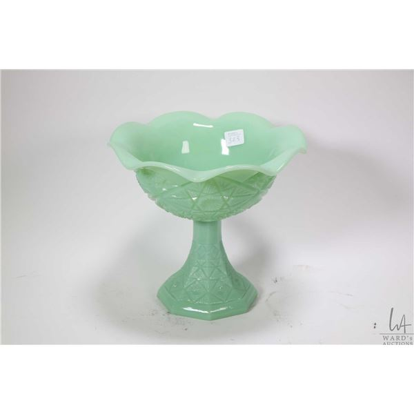 """Vintage Jadeite footed comport with scalloped edging 8"""" in height"""