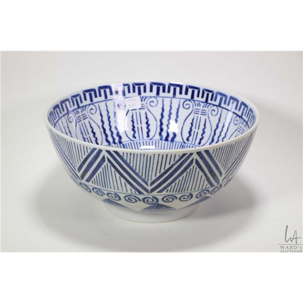 """Large Oriental blue and white hand painted footed bowl 12"""" in diameter"""