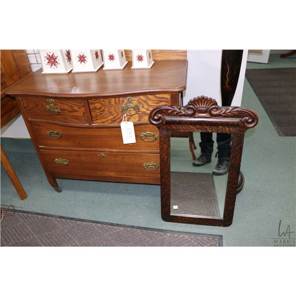 Antique four drawer bedroom chest with backboard and a non-matching antique mirror