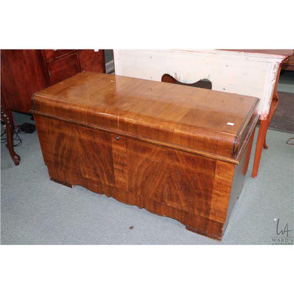 Art Deco waterfall style cedar lined walnut chest by Lane