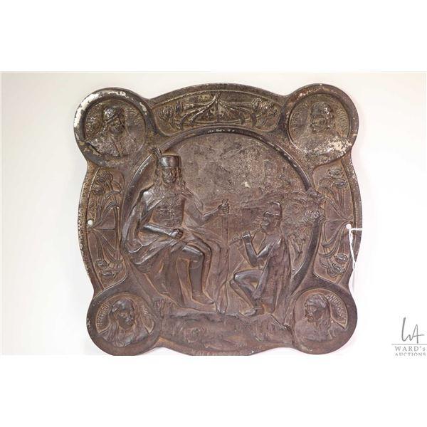 "Hungarian bas relief bronze plaque engraved on verso Tolnai Vilaglapja Ajandeka 13"" X 13"""