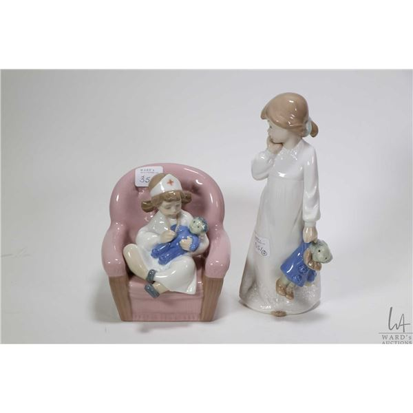 Two small Nao figurines including little nurse in chair and a little girl with doll