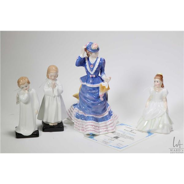 Four Royal Doulton figurines including Lady Eaton HN3623 with COA, Bedtime HN1978, Darling HN1985 an