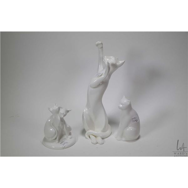 """Three white porcelain cat figurines including 10 1/2"""" Royal Doulton """"Shadowplay"""" HN3526, Royal Doult"""
