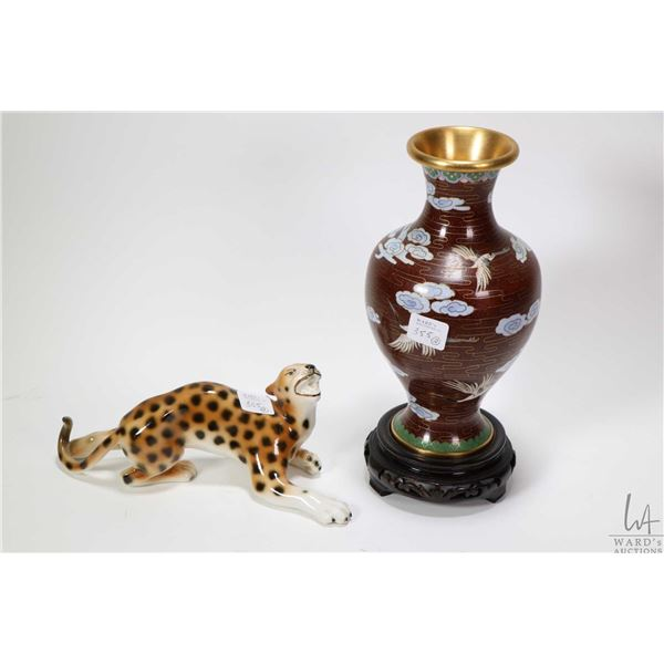 """Cloissone vase 8 1/2"""" with crane and cloud decoration and wooden plinth plus a Royal Dux croughing l"""