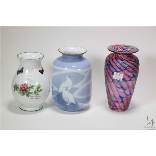 "Three vases including signed 7"" Robert Held art glass, Royal Worcester Herbs and Copenhagen Porcelai"
