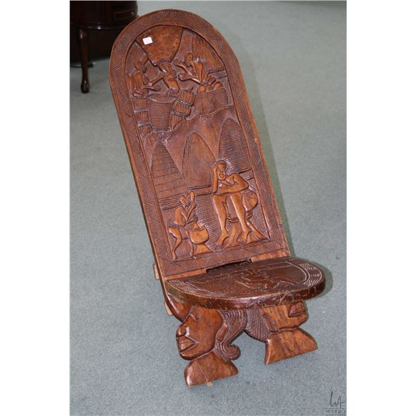 Hand carved African birthing chair, purportedly bought in Africa in the 50's-60's