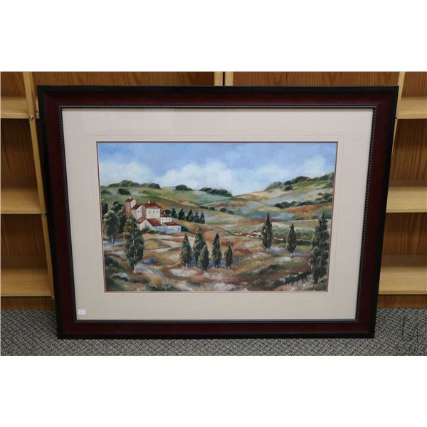 """Large framed decor print of rolling hills and buildings overall dimensions 35"""" X 45"""". Not Available"""