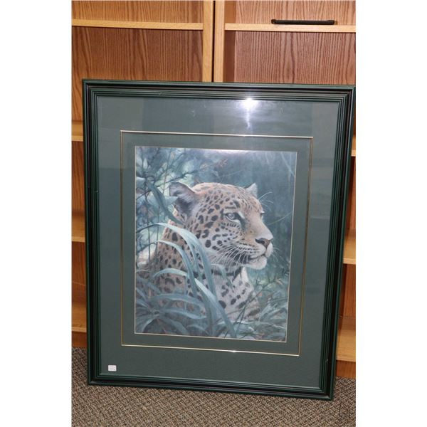 """Two large framed leopard print pictures including 33"""" X 43"""" and 38"""" X 31"""", both overall dimensions i"""