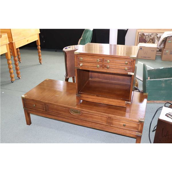 Coffee table with faux drawer fronts on both sides and a single drawer side table each with brass ac
