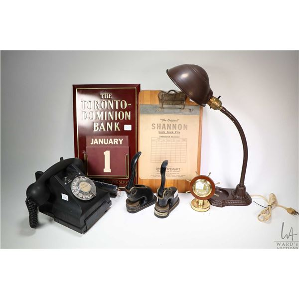 Selection of vintage office accessories including black rotary dial desk phone, a goose neck desk la